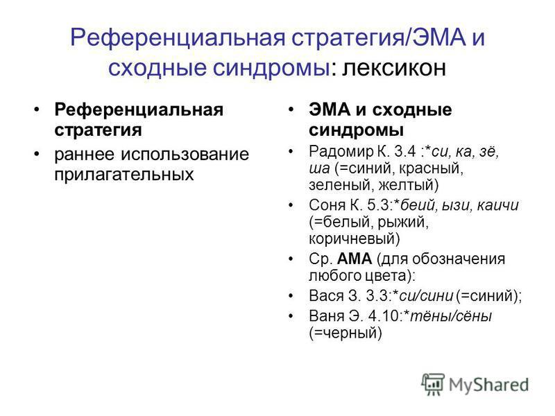 Референциальная стратегия/ЭМА и сходные синдромы: лексикон Референциальная стратегия раннее использование прилагательных ЭМА и сходные синдромы Радомир К. 3.4 :*си, ка, зё, ша (=синий, красный, зеленый, желтый) Соня К. 5.3:*беий, изи, каичи (=белый,
