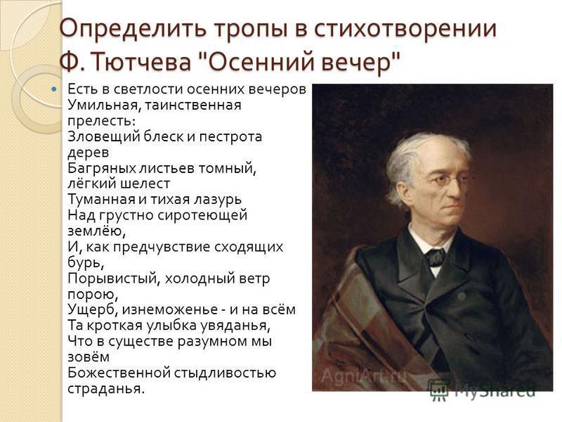 Определить тропы в стихотворении Ф. Тютчева