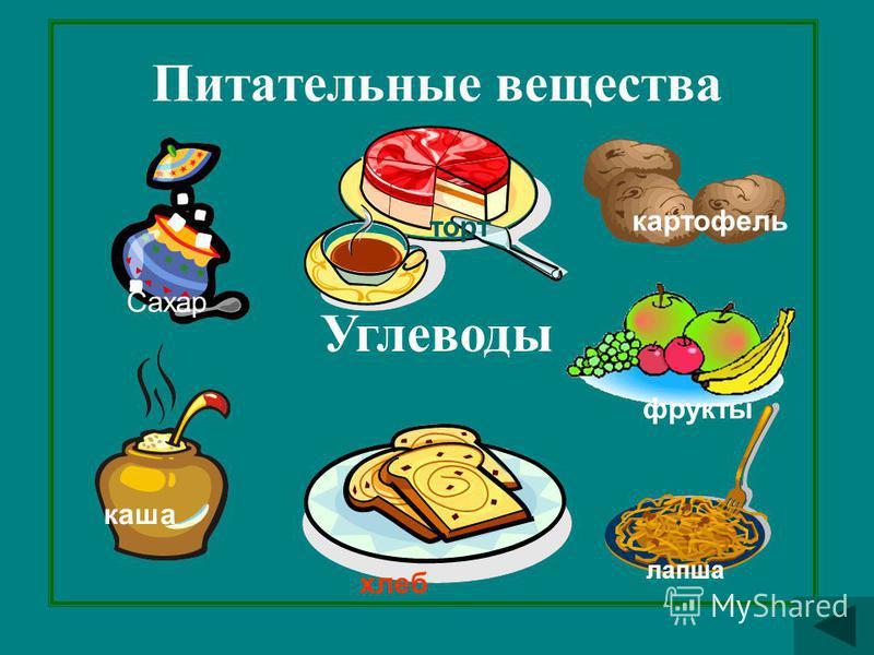 Питательные вещества Углеводы Сахар каша лапша фрукты картофель торт хлеб