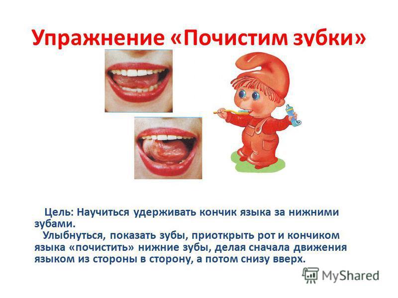 Упражнение «Почистим зубки» Цель: Научиться удерживать кончик языка за нижними зубами. Улыбнуться, показать зубы, приоткрыть рот и кончиком языка «почистить» нижние зубы, делая сначала движения языком из стороны в сторону, а потом снизу вверх.