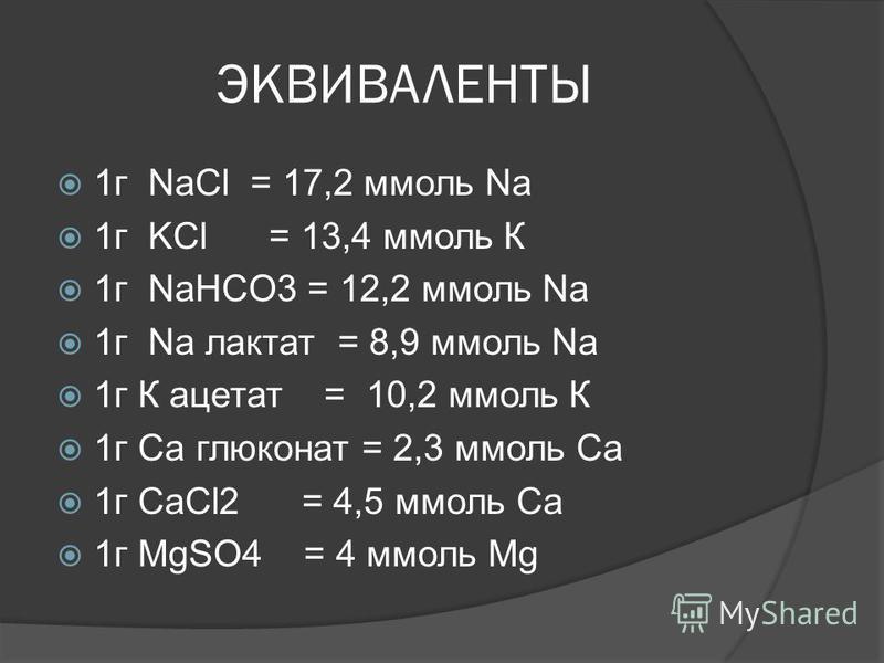 ЭКВИВАЛЕНТЫ 1 г NaCl = 17,2 ммоль Na 1 г KCl = 13,4 ммоль К 1 г NaHCO3 = 12,2 ммоль Na 1 г Na лактат = 8,9 ммоль Na 1 г К ацетат = 10,2 ммоль К 1 г Са глюконат = 2,3 ммоль Са 1 г CaCl2 = 4,5 ммоль Са 1 г MgSO4 = 4 ммоль Mg