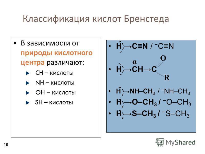 10 Классификация кислот Бренстеда В зависимости от природы кислотного центра различают : СН – кислоты N Н – кислоты OH – кислоты S Н – кислоты H CN / CN H CHC H NH–CH 3 / – NH–CH 3 H O–CH 3 / O–CH 3 H S–CH 3 / S–CH 3 O R α