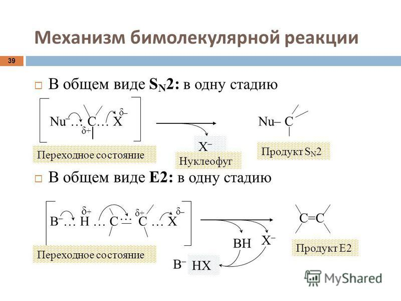 Механизм бимолекулярной реакции 39 В общем виде S N 2: в одну стадию В общем виде Е2: в одну стадию Nu – … C… X δ+δ+ δ–δ– Переходное состояние Х–Х– Нуклеофуг Nu– C Продукт S N 2 В – … Н … С С … Х … δ–δ– δ+δ+ δ+δ+ ВН С=С Х–Х– Продукт Е2 В–В– НХ Перехо