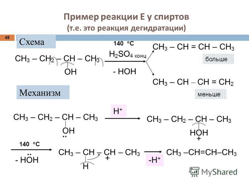 Пример реакции Е у спиртов ( т. е. это реакция дегидратации ) 48 меньше Механизм Н+Н+ СН 3 – СН 2 – СН – СН 3 ОН.. СН 3 – СН 2 – СН – СН 3 НОН + - НОН..СН 3 – СН – СН – СН 3 + Н СН 3 –СН=СН–СН 3 СН 3 – СН 2 – СН – СН 3 ОН Н 2 SO 4 конц - НОН СН 3 – С