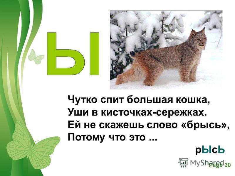 Free Powerpoint TemplatesPage 30 Чутко спит большая кошка, Уши в кисточках-сережках. Ей не скажешь слово «брысь», Потому что это... р ЫсЬ