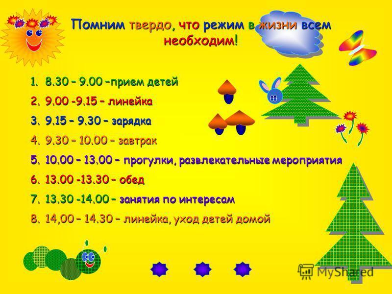 1.8.30 – 9.00 –прием детей 2.9.00 -9.15 – линейка 3.9.15 – 9.30 – зарядка 4.9.30 – 10.00 – завтрак 5.10.00 – 13.00 – прогулки, развлекательные мероприятия 6.13.00 -13.30 – обед 7.13.30 -14.00 – занятия по интересам 8.14,00 – 14.30 – линейка, уход дет
