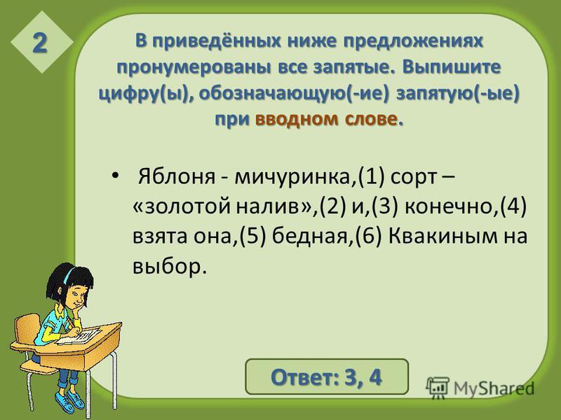 В приведённых ниже предложениях пронумерованы все запятые. Выпишите цифру(ы), обозначающую(-ие) запятую(-ые) при вводном слове. Яблоня - мичуринка,(1) сорт – «золотой налив»,(2) и,(3) конечно,(4) взята она,(5) бедная,(6) Квакиным на выбор. 2 Ответ: 3