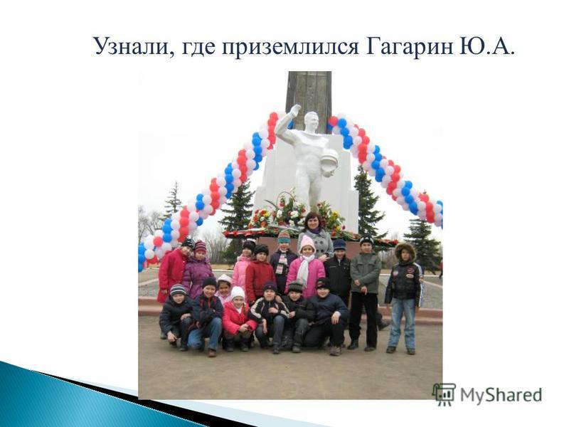 Узнали, где приземлился Гагарин Ю.А.