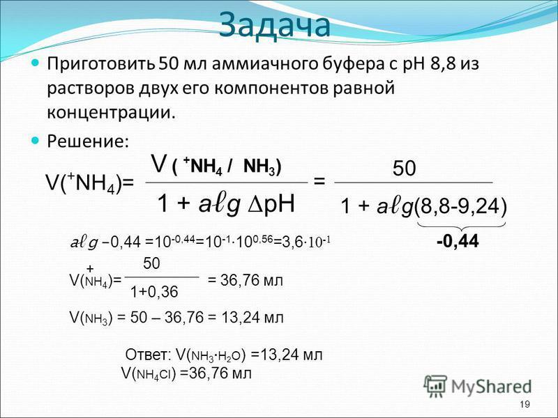 Приготовить 50 мл аммиачного буфера с рН 8,8 из растворов двух его компонентов равной концентрации. Решение: 19 V ( + NH 4 / NH 3 ) 1 + а g Δ рН V( + NН 4 )= = 50 1 + а g(8,8-9,24) -0,44 Задача ад - 0,44 =10 -0,44 =10 -1 10 0,56 =3,6 10 -1 V( NH 4 )=