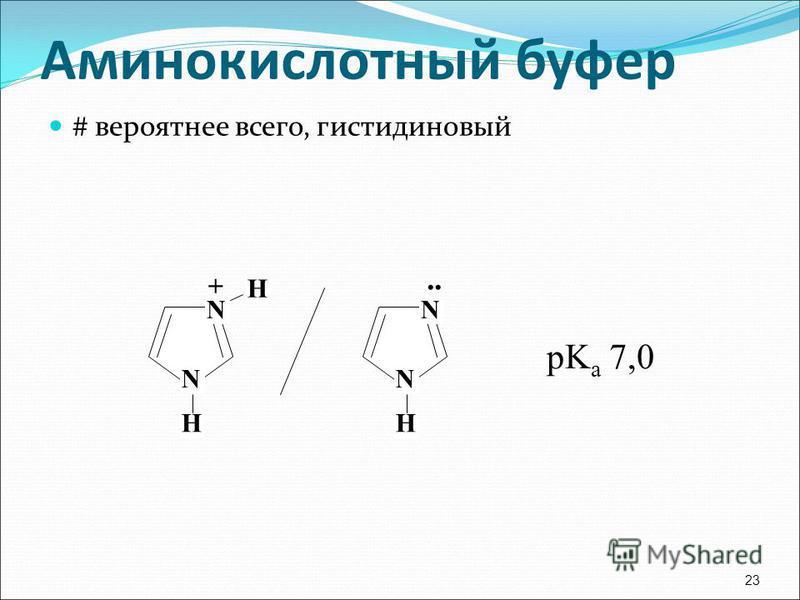 # вероятнее всего, гистидиновый 23 N H N H + N H N.. pK a 7,0 Аминокислотный буфер