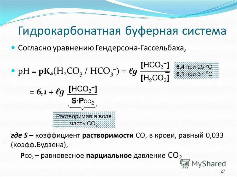 Согласно уравнению Гендерсона-Гассельбаха, рН = рука (Н 2 СО 3 / НСО 3 – ) + g = = 6,1 + g где S – коэффициент растворимости СО 2 в крови, равный 0,033 (коэфф.Будзена), P СО 2 – равновесное парциальное давление СО 2 27 [НСО 3 – ] [Н 2 СО 3 ] [НСО 3 –