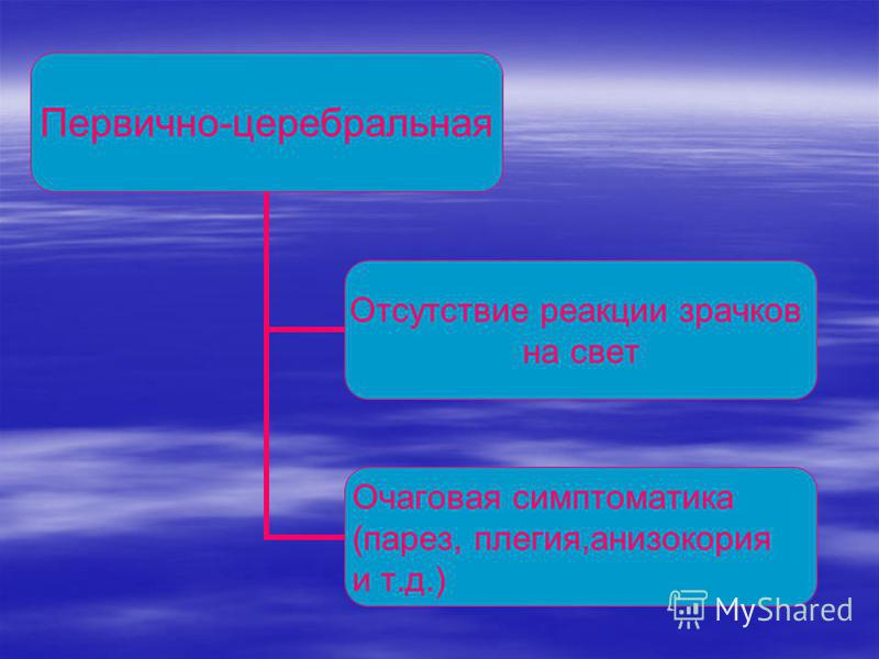 Первично-церебральная Отсутствие реакции зрачков на свет Очаговая симптоматика (парез, плегия,анизокория и т.д.)