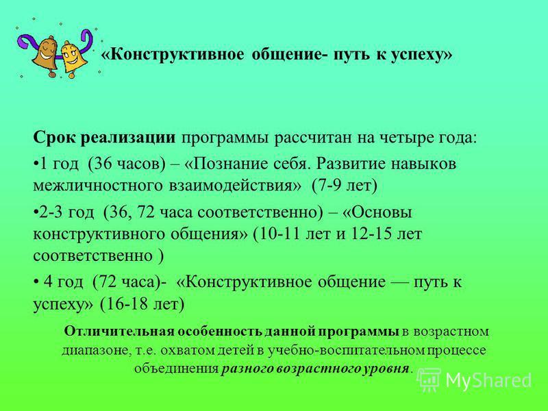 «Конструктивное общение- путь к успеху» Срок реализации программы рассчитан на четыре года: 1 год (36 часов) – «Познание себя. Развитие навыков межличностного взаимодействия» (7-9 лет) 2-3 год (36, 72 часа соответственно) – «Основы конструктивного об