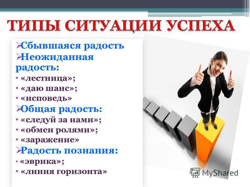 Сбывшаяся радость Неожиданная радость: «лестница»; «даю шанс»; «исповедь» Общая радость: «следуй за нами»; «обмен ролями»; «заражение» Радость познания: «эврика»; «линия горизонта» Сбывшаяся радость Неожиданная радость: «лестница»; «даю шанс»; «испов