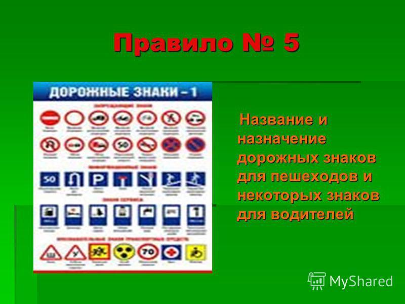 Правило 5 Название и назначение дорожных знаков для пешеходов и некоторых знаков для водителей Название и назначение дорожных знаков для пешеходов и некоторых знаков для водителей