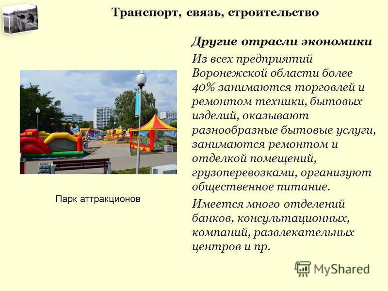 Транспорт, связь, строительство Другие отрасли экономики Из всех предприятий Воронежской области более 40% занимаются торговлей и ремонтом техники, бытовых изделий, оказывают разнообразные бытовые услуги, занимаются ремонтом и отделкой помещений, гру