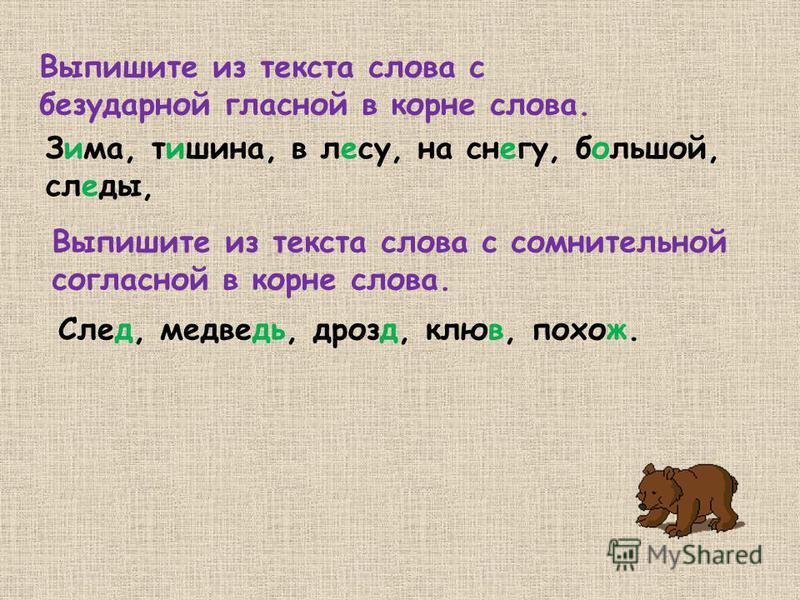 Выпишите из текста слова с безударной гламной в корне слова. Зима, тишина, в лесу, на снегу, большой, следы, Выпишите из текста слова с сомнительной согламной в корне слова. След, медвебдь, дрозд, клюв, похож.
