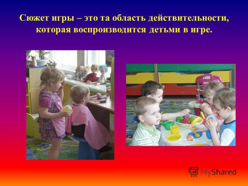 Сюжет игры – это та область действительности, которая воспроизводится детьми в игре.