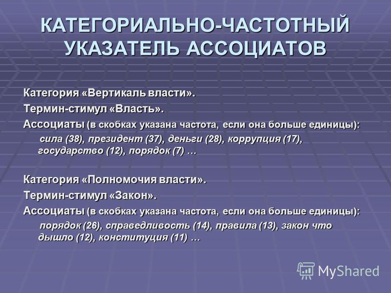 КАТЕГОРИАЛЬНО-ЧАСТОТНЫЙ УКАЗАТЕЛЬ АССОЦИАТОВ Категория «Вертикаль власти». Термин-стимул «Власть». Ассоциаты (в скобках указана частота, если она больше единицы): сила (38), президент (37), деньги (28), коррупция (17), государство (12), порядок (7) …