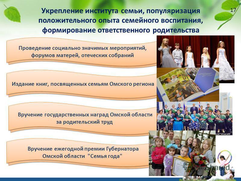 Вручение государственных наград Омской области за родительский труд Вручение ежегодной премии Губернатора Омской области