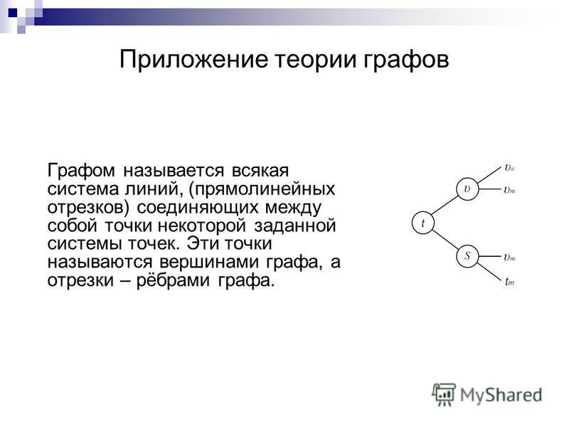 Приложение теории графов Графом называется всякая система линий, (прямолинейных отрезков) соединяющих между собой точки некоторой заданной системы точек. Эти точки называются вершинами графа, а отрезки – рёбрами графа.