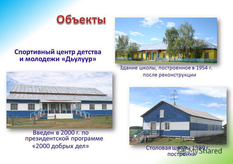 Здание школы, построенное в 1954 г. после реконструкции Столовая школы 1989 г. постройки Введен в 2000 г. по президентской программе «2000 добрых дел» Спортивный центр детства и молодежи «Дьулуур»