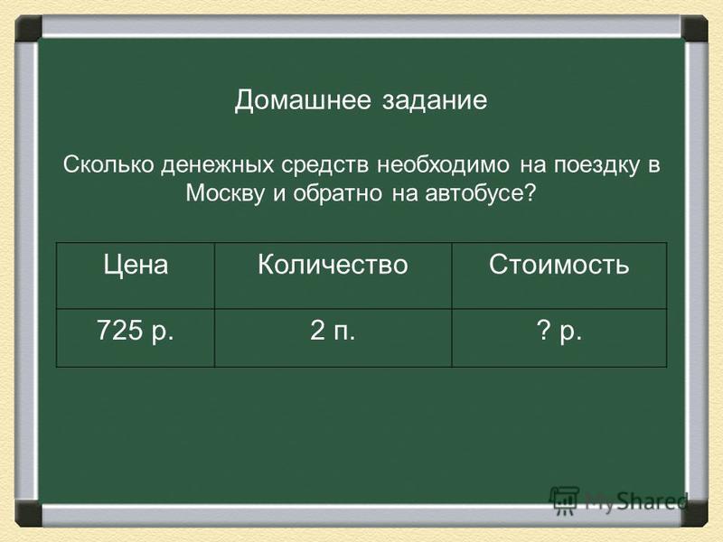 Домашнее задание Сколько денежных средств необходимо на поездку в Москву и обратно на автобусе? Цена КоличествоСтоимость 725 р.2 п.? р.