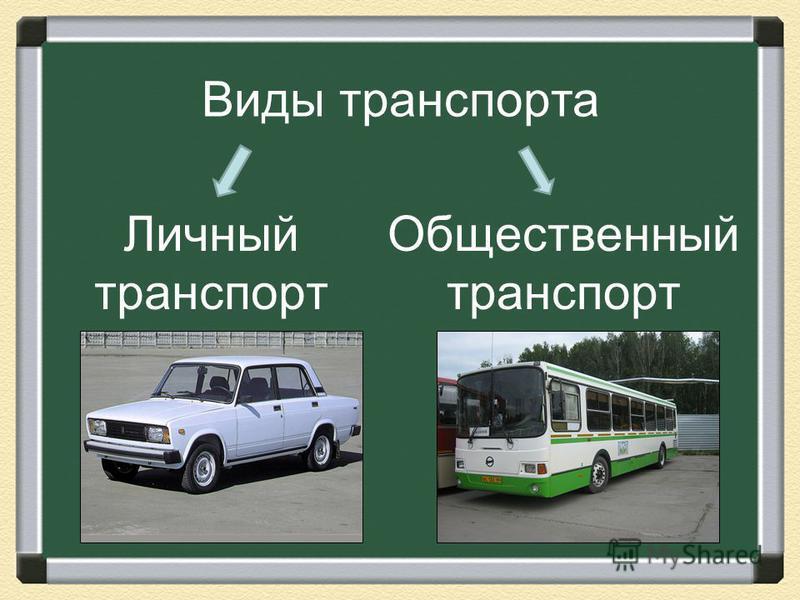 Виды транспорта Личный транспорт Общественный транспорт