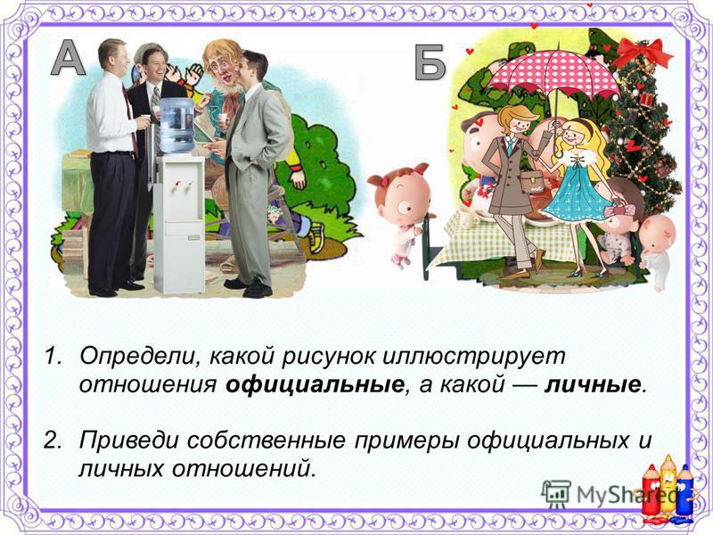 1.Определи, какой рисунок иллюстрирует отношения официальные, а какой личные. 2. Приведи собственные примеры официальных и личных отношений.