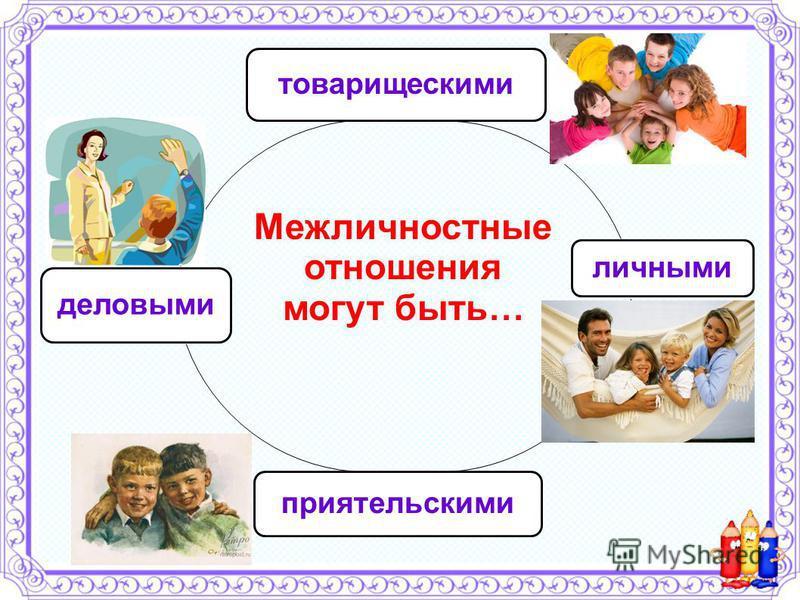 товарищескими личными приятельскими деловыми Межличностные отношения могут быть…