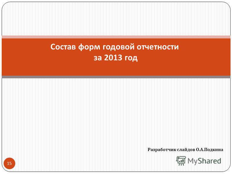 Разработчик слайдов О. А. Подкина 15 Состав форм годовой отчетности за 2013 год