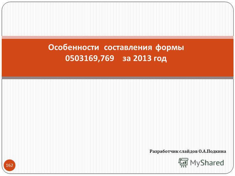 Разработчик слайдов О. А. Подкина 162 Особенности составления формы 0503169,769 за 2013 год