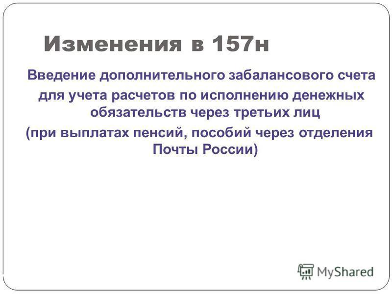 Изменения в 157 н СЛАЙД 188 Введение дополнительного забалансового счета для учета расчетов по исполнению денежных обязательств через третьих лиц (при выплатах пенсий, пособий через отделения Почты России)