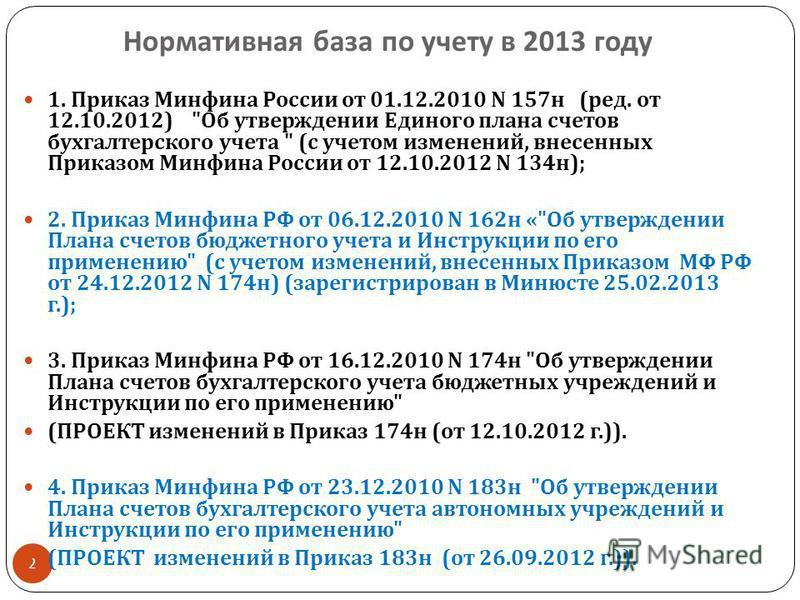 Нормативная база по учету в 2013 году 2 1. Приказ Минфина России от 01.12.2010 N 157 н ( ред. от 12.10.2012)