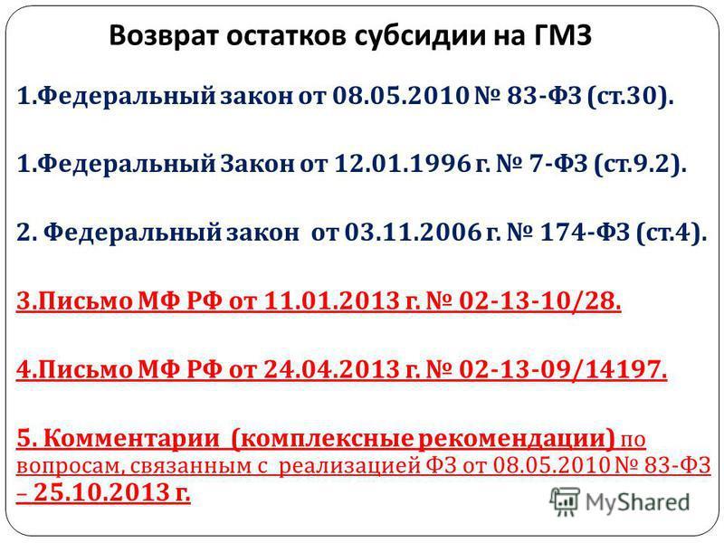 Возврат остатков субсидии на ГМЗ 1. Федеральный закон от 08.05.2010 83- ФЗ ( ст.30). 1. Федеральный Закон от 12.01.1996 г. 7- ФЗ ( ст.9.2). 2. Федеральный закон от 03.11.2006 г. 174- ФЗ ( ст.4). 3. Письмо МФ РФ от 11.01.2013 г. 02-13-10/28. 4. Письмо