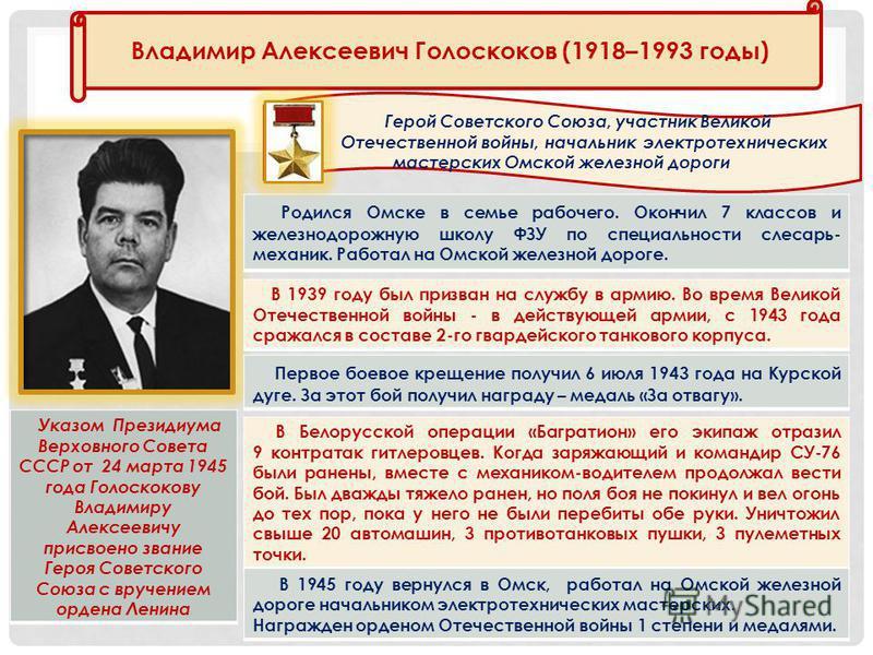 Владимир Алексеевич Голоскоков (1918–1993 годы) Герой Советского Союза, участник Великой Отечественной войны, начальник электротехнических мастерских Омской железной дороги Указом Президиума Верховного Совета СССР от 24 марта 1945 года Голоскокову Вл