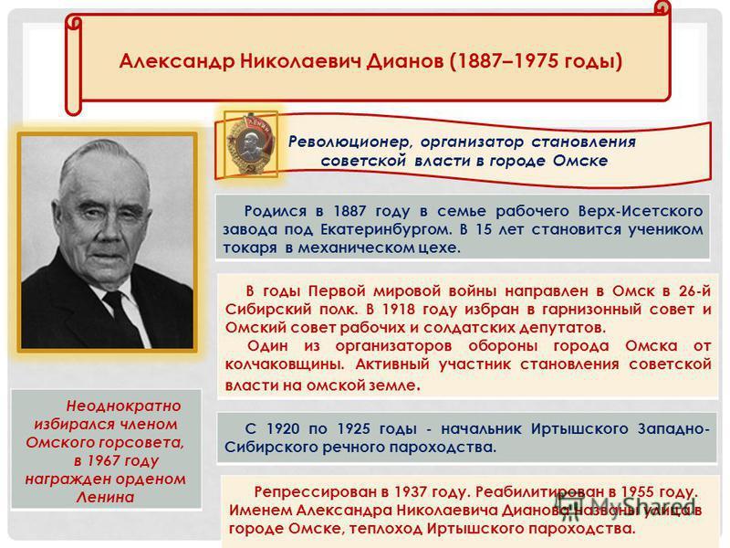 Родился в 1887 году в семье рабочего Верх-Исетского завода под Екатеринбургом. В 15 лет становится учеником токаря в механическом цехе. Александр Николаевич Дианов (1887–1975 годы) Революционер, организатор становления советской власти в городе Омске
