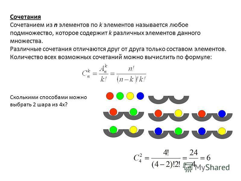 Сочетания Сочетанием из n элементов по k элементов называется любое подмножество, которое содержит k различных элементов данного множества. Различные сочетания отличаются друг от друга только составом элементов. Количество всех возможных сочетаний мо