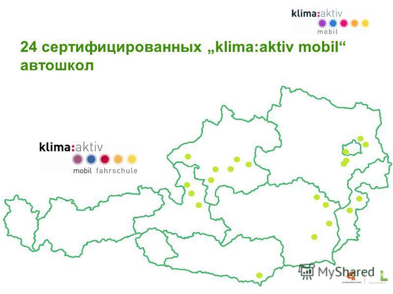 24 сертифицированных klima:aktiv mobil автошкол Slide 12 Spritspar-Initiative www.klimaaktiv.at