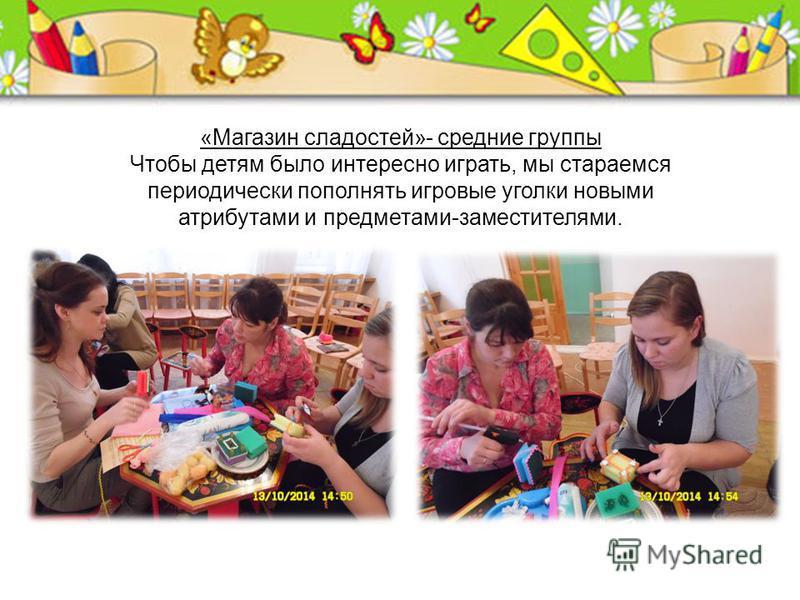 « Магазин сладостей »- средние группы Чтобы детям было интересно играть, мы стараемся периодически пополнять игровые уголки новыми атрибутами и предметами - заместителями.