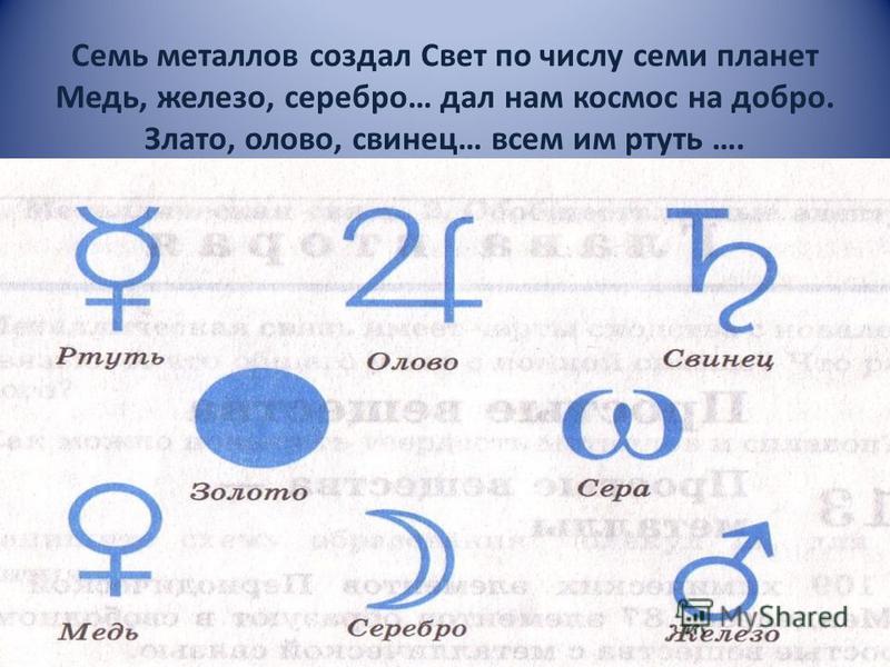Семь металлов создал Свет по числу семи планет Медь, железо, серебро… дал нам космос на добро. Злато, олово, свинец… всем им ртуть ….