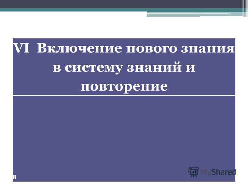 VI Включение нового знания в систему знаний и повторение 8