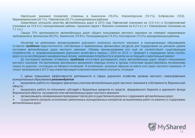 Наилучшие значения показателя отмечены в Аннинском (16,4%), Новохоперском (19,1%), Бобровском (19,8), Верхнемамонском (20,1%), Павловском (22,1%) муниципальных районах. Значительно улучшили качество автомобильных дорог в 2013 году Павловский (снижени
