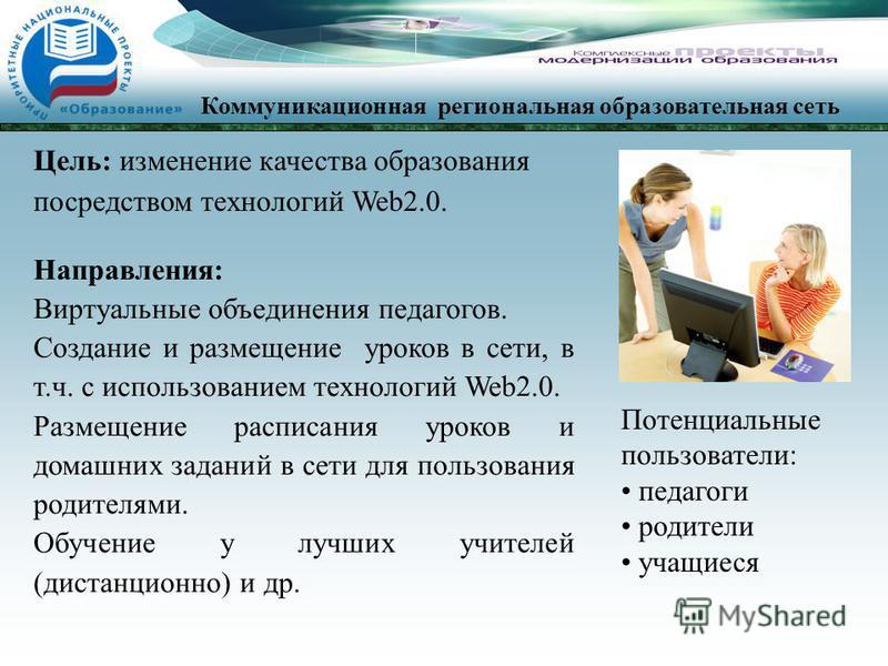 Цель: изменение качества образования посредством технологий Web2.0. Направления: Виртуальные объединения педагогов. Создание и размещение уроков в сети, в т.ч. с использованием технологий Web2.0. Размещение расписания уроков и домашних заданий в сети