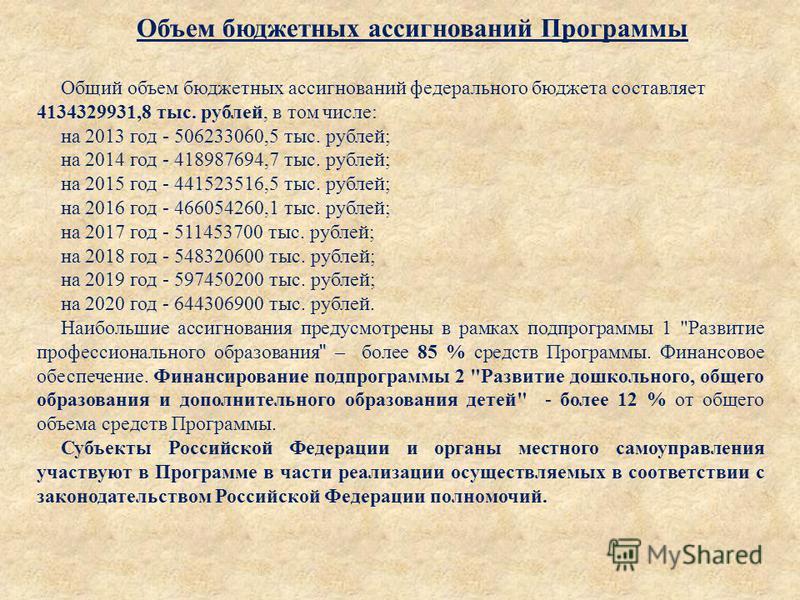 Объем бюджетных ассигнований Программы Общий объем бюджетных ассигнований федерального бюджета составляет 4134329931,8 тыс. рублей, в том числе : на 2013 год - 506233060,5 тыс. рублей ; на 2014 год - 418987694,7 тыс. рублей ; на 2015 год - 441523516,