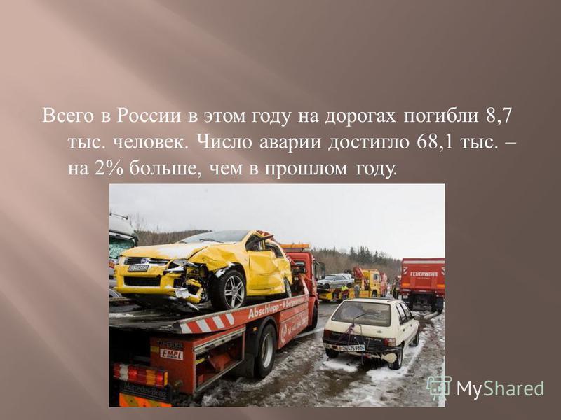 Всего в России в этом году на дорогах погибли 8,7 тыс. человек. Число аварии достигло 68,1 тыс. – на 2% больше, чем в прошлом году.