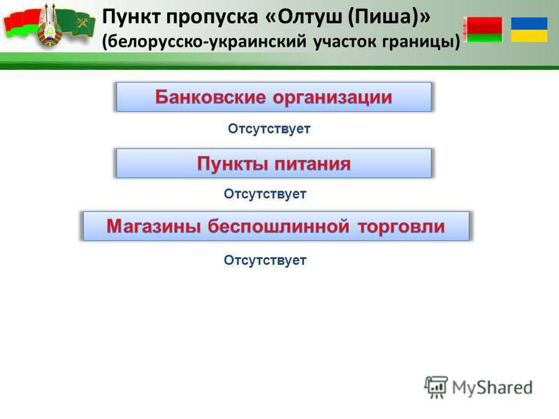 Пункт пропуска «Олтуш (Пиша)» (белорусско-украинский участок границы) Отсутствует