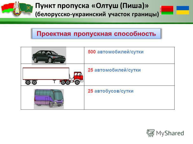 Пункт пропуска «Олтуш (Пиша)» (белорусско-украинский участок границы) 500 автомобилей/сутки 25 автомобилей/сутки 25 автобусов/сутки