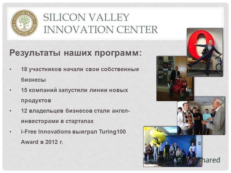 18 участников начали свои собственные бизнесы 15 компаний запустили линии новых продуктов 12 владельцев бизнесов стали ангел- инвесторами в стартапах i-Free Innovations выиграл Turing100 Award в 2012 г. SILICON VALLEY INNOVATION CENTER Результаты наш
