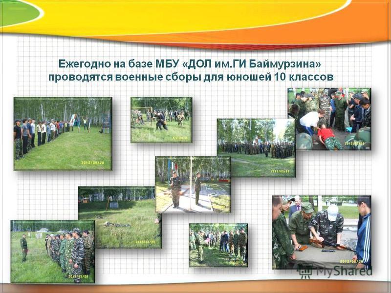 Ежегодно на базе МБУ «ДОЛ им.ГИ Баймурзина» проводятся военные сборы для юношей 10 классов